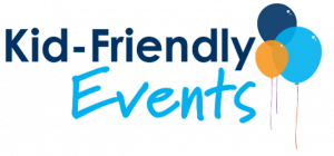 Kid-Friendly Events logo with balloons