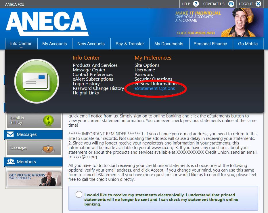 Enroll in Bill Pay Screen Shot